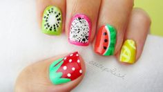5 Summer Fruit Nail Art Designs Hi guys! In todays DIY nail art tutorial Ill be showing you a quick summer guide to creating a bunch of different fruit nail art designs. You can choose to wear one or two of them as