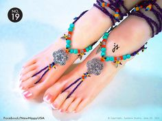 No 19 Bead Turquoise Gypsy Bohemian Purple crochet Barefoot Sandals foot jewelry #NewHippy