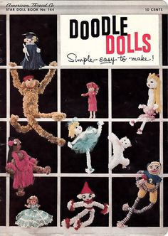 "Vintage 1950s CROCHET Craft Book Booklet ""DOODLE DOLLS"" ... Cute Toy Patterns"