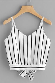 Striped Split Tie Back Crop Cami Top -SheIn(Sheinside) Striped Split . Read more The post Striped Split Tie Back Crop Cami Top -SheIn(Sheinside) appeared first on How To Be Trendy. Denim Crop Top, Cropped Cami, Cami Crop Top, Crop Tank, Girls Fashion Clothes, Teen Fashion Outfits, Girl Fashion, Clothes For Women, Fashion Ideas