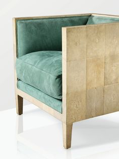 Jean-Michel Frank, armchair, shagreen covered wood, later re-upholstered, ca 1928 (part of a pair)