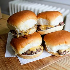 The vapor action from the grilling onions steams through the bun, in these classic slider cheeseburgers. #foodgawker