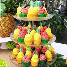 Birthday Cupcakes birthday ideas pineapple and watermelon cupcakes 2nd Birthday Party For Girl, Spongebob Birthday Party, Watermelon Birthday Parties, Fruit Birthday, Birthday Ideas, 30th Birthday, Summer Birthday, Hawaiian Birthday, Flamingo Party