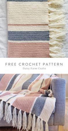 Modern Crochet Blanket, Crochet Throw Pattern, Modern Crochet Patterns, Afghan Crochet Patterns, Crochet Stitches, Knitting Patterns, Crochet Throws, Knitted Throw Patterns, Striped Crochet Blanket