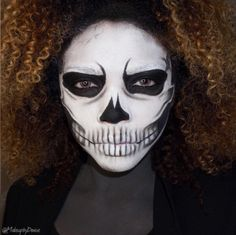 SKULL FACE If you're out for scares, throw on your favorite LBD and meticulously paint on this hyper-real skull makeup. Makeup by Skull Face Makeup, Skull Face Paint, Body Makeup, Skeleton Makeup, Cool Halloween Makeup, Scary Makeup, Halloween Make Up, Halloween Ideas, Halloween Costumes