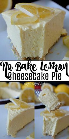 This No-Bake Lemon Cheesecake Pie is so creamy and bursting with fresh flavors. Sweet and tart the lemon flavor is ahh-mazing! #no #bake #lemon #cheesecake #pie #easy #cheesy #rich #light #flavorful #summery #family #favorite #dessert