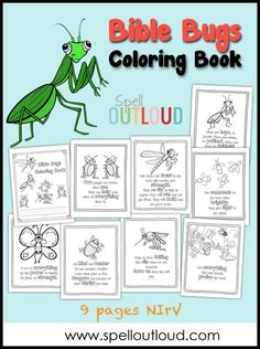 Bible Bugs Scripture Coloring Pages from @maureenspell - these are wonderful printables to send to your sponsored child!: