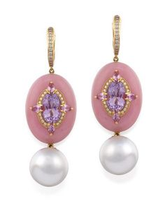 Pair of 18ct rose gold, south sea Pearl, lavender amethyst and diamond earrings.