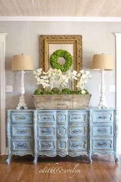 French Country Fridays No. 9 ~ Louis XV Commode, Gardens, Elegant Family Room and More! French Decor, French Country Decorating, Paint Furniture, Furniture Makeover, Blue Furniture, French Furniture, Furniture Design, French Provincial Dresser, French Dresser