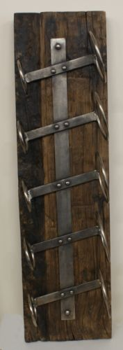 Reclaimed Wood and Forged Wine Rack