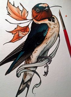 Barn swallow tattoo. No, is not a kingfisher. Nuts