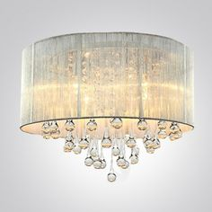 Silver Drum Shade and Rich Crystal Rainfall Flush Mount Chandelier Light