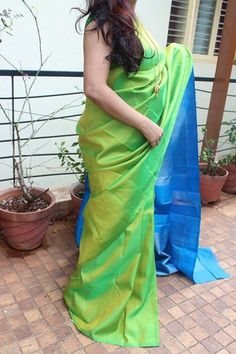 Plain Parrot green and blue traditional kanjeevaram saree