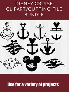 Disney Cruise SVG Bundle, Cruise clipart, Anchor cut files, svg files for silhouette, files for cricut, svg, dxf, eps, cuttable design #ad