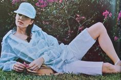 Ted Lapidus- 1978 Blue & white striped top and shorts. L'Officiel USA May/June 1978