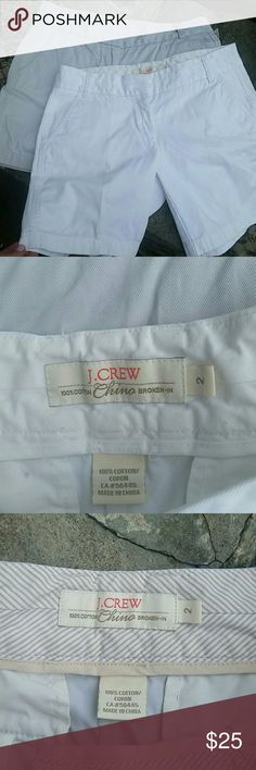 1 pair J.Crew City fit shorts One kaki / one white.  Great condition!! Perfect neutral colors to wear with everything! No rips all zippers work. J. Crew Shorts