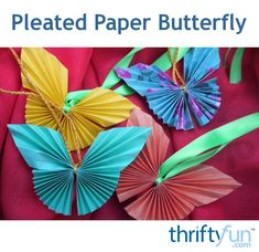 These pretty folded paper butterflies are easy to make. Make several to hang individually or perhaps as a mobile. This is a guide about how to make a pleated paper butterfly. Christmas Paper Crafts, Easy Paper Crafts, Diy Paper, Easter Crafts, Diy Crafts, Tissue Paper Crafts, Simple Crafts, Adult Crafts, Paper Butterflies