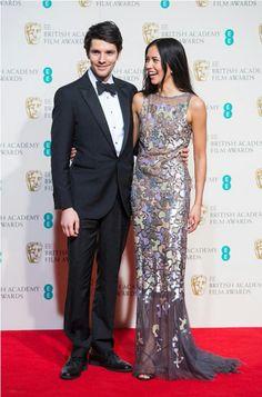 Colin Morgan and Sonoya Mizuno pose in the winners room at the #bafta2016 #BAFTAs
