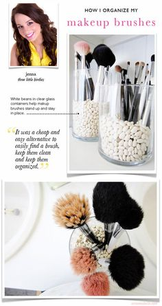 Keep makeup brushes upright with white beans!  - #makeupbrushes #whitebeans #beautystorage #beautyorganization - Love beauty? Go to bellashoot.com for beauty inspiration!