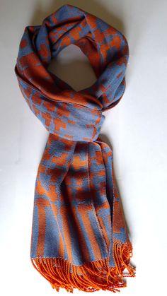 "Blue & Orange Scarf Handwoven 15"" x 79"" by EndsPerInch on Etsy, $115.00"