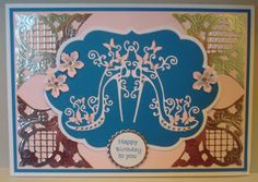 G151 Hand made Birthday card using Tattered Lace High Heel Glam die and Marianne dies. By Linda Fraser