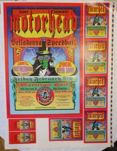 Signed Lemmy Kilmister Phil Mickey Motorhead Uncut Poster Proofsheet Ultra Rare Rock Posters, Comic Books, San, Comics, Concert, Concerts, Cartoons, Cartoons, Comic