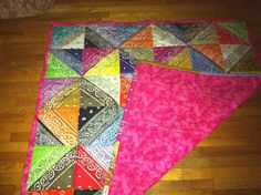 Backside of bandana quilt Easy Sewing Patterns, Easy Sewing Projects, Quilting Projects, Quilting Designs, Quilt Patterns, Sewing Crafts, Quilting Ideas, Quilting 101, Sewing Tutorials