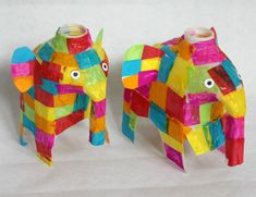 Love Elmer the Elephant? Grab an old milk just and make these Precious Patchwork Elephants while you read the story!