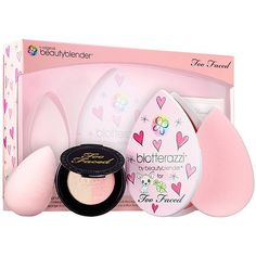 beautyblender + Too Faced Holiday Kit. A holiday kit with a light pink beautyblender, blotterazzi with beautyblender + Too Faced compact, and Too Faced Candlelight Glow in Rosy Glow. Makeup Gift Sets, Makeup Brush Set, Beautyblender, Beauty Hacks That Actually Work, Cosmetics News, Holiday Makeup, Fall Makeup, Beauty Must Haves, Girl Swag