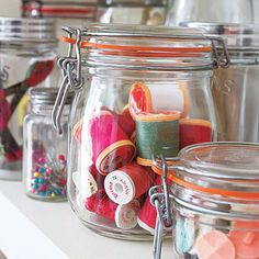 Organize craft supplies in clear jars to make a pretty display , like the ribbon idea. Sewing Room Storage, Sewing Room Organization, My Sewing Room, Craft Room Storage, Sewing Rooms, Storage Ideas, Organizing Ideas, Thread Storage, Craft Rooms