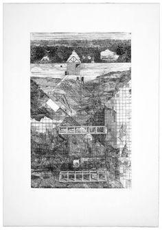 """Franco Purini, Dopo l'architettura moderna, 1977, Acquaforte - acquatinta su carta Rosaspina, 70x50 cm  ciclo """"Pareti. 1977: sette incisioni"""" #sketch"""