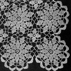Ravelry: Queen Anne's Lace Bedspread pattern by The Spool Cotton Company Hexagon Crochet Pattern, Crochet Tablecloth Pattern, Crochet Bedspread Pattern, Crochet Lace Edging, Tablecloth Fabric, Vintage Crochet Dresses, Vintage Crochet Patterns, Crochet Flower Patterns, Crochet Designs