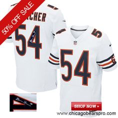 $129.99 Men's Nike Chicago Bears #54 Brian Urlacher Elite Away White NFL Alternate Autographed Jersey