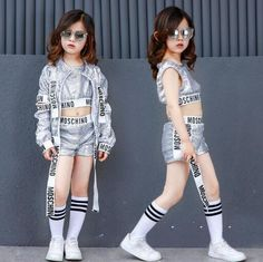 Kids Jazz Hip Hop Modern Dance Costumes For Girls Silver Sequin Dancing Wear Clothing Children Sports Suit Outfits