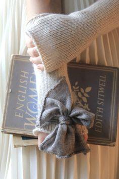 Bow, beige cashmere arm warmers by Eilis Boyle