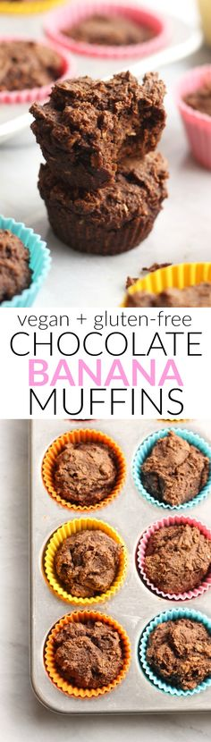 These delicious one bowl vegan and gluten-free Chocolate Banana Muffins have no flour and zero added sugar!