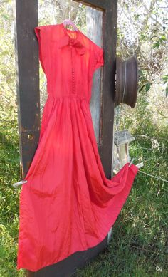 Vintage Long Red Dress Formal from the 1950's on by LotsaVintage, $49.99