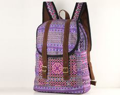 Your place to buy and sell all things handmade Rucksack Backpack, Black Cotton, Cotton Fabric, Take That, Buy And Sell, Backpacks, Stylish, Purple, Bags