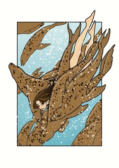 Selkie swimming with seals.