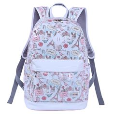 Pink Canvas White Leather Trim Vogue Paris Themed Eiffel Tower and Graffiti  Print School Backpack Durable Sewing Pattern Travel Bag 41bb528b2c7dd