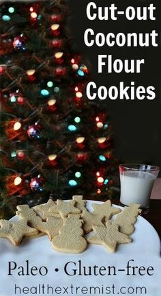 Simple recipe for cut-out coconut flour cookies. Great for a holiday party for those on a gluten-free diet. These coconut flour cookies are delicious.
