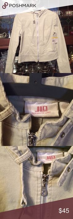 NWT J.Lo Corduroy Moto Jacket Never worn brand new cream corduroy, fine wale. Moto style with belted neck. Tags attached. Jennifer Lopez Jackets & Coats Utility Jackets