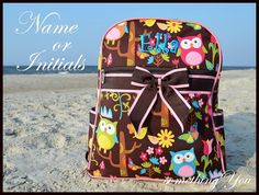 Personalized Name Owls and Butterflies Monogrammed Backpack - Name or Initials Bookbag Book Bag Kids Childrens Girls Elementary brown blue - Etsy $31.95