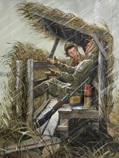 Childress, Robert Ah, Couple Experiencing Joys of Rainy Day in Duck Blind Duck Hunting Blinds, Duck Hunting Boat, Quail Hunting, Waterfowl Hunting, Hunting Art, Pheasant Hunting, Hunting Tips, Turkey Hunting, Hunting Stuff