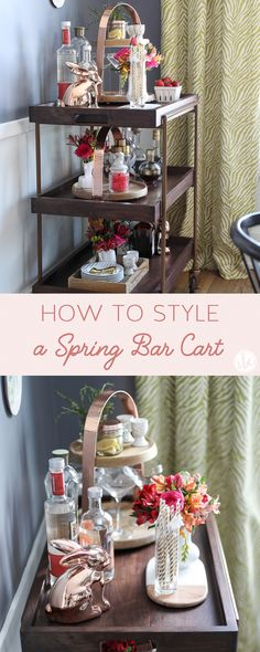 How to Style a Spring Bar Cart, plus cute accessories from HomeGoods to make your cart pretty and functional. *sponsored pin* Bar Cart Decor, Gold Bar Cart