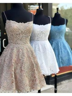 Outlet Luscious Homecoming Dresses, Lace Homecoming Dresses, Vintage Homecoming Dresses,Spaghetti Straps Mini Party Dresses For Girls Vintage Homecoming Dresses, Hoco Dresses, Pretty Dresses, Sexy Dresses, Strapless Dress Formal, Beautiful Dresses, Vintage Dresses, Vintage Lace, Short Tight Prom Dresses
