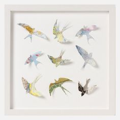 Framed Vintage Map Birds.
