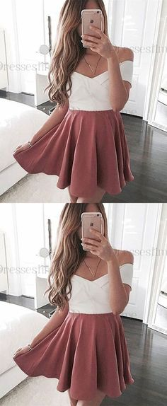 simple blush off shoulder homecoming party dresses, cheap a-line fall hoco party gowns, fashion, women's fashion. Homecoming Dresses Under 100, Dresser, Satin Shorts, Party Gowns, Off The Shoulder, Perfect Fit, Simple, Clothes, Blush