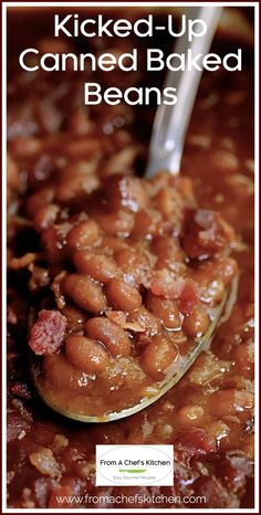 Kicked-Up Canned Baked Beans is an easy and delicious way to make ordinary canned baked beans taste as though you made them from scratch! #beans #bakedbeans #sidedishes #beansidedishes Canned Baked Beans, Easy Baked Beans, Baked Beans With Bacon, Baked Bean Recipes, Potluck Recipes, Side Dish Recipes, Gourmet Recipes, Cooking Recipes, Side Dishes
