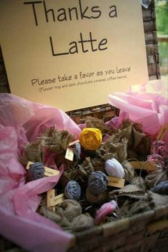 Chocolate covered coffee beans, burlap bags and flower ring FAVORS - Church Street Designs